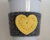 Crochet Gray and Yellow Heart Coffee Cup Cozy Sleeve