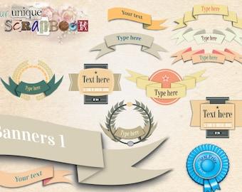12 Banner Illustrations, vintage style, Clip Art - INSTANT DOWNLOAD - Pack banner1