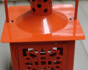 Red Metal Candle Holder
