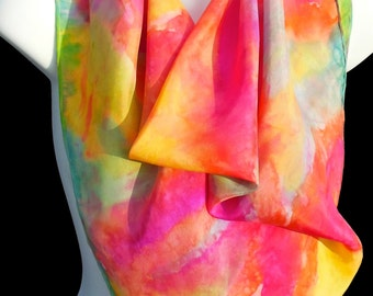 "Colorsations Square SILK SCARF. Hand Painted Silk Scarf by New York  artist Joan Reese/ 30""x30"" /100% Silk"