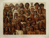 1890 Antique lithograph of NATIVE AMERICANS TYPES. American Indian. American Race of Human. Anthropology. 127 years old nice print.