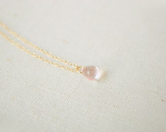 Pale Pink Droplet Necklace