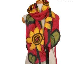 SALE! nuno felted floral scarf, evening sunflowers II  artistic silk felt wool nuno felted scarf,eco felted shawl, nunofelted wool scarf