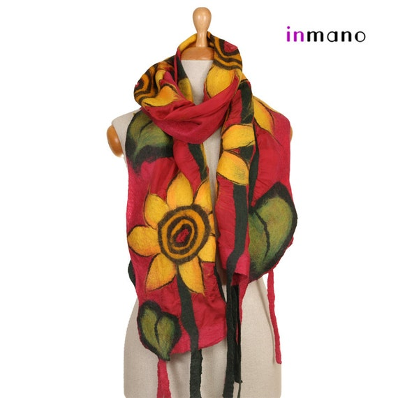 SALE  SALE!! nuno felted scarf, evening sunflowers II - silk and wool nuno felted scarf, felted shawl, felted wool scarf by inmano