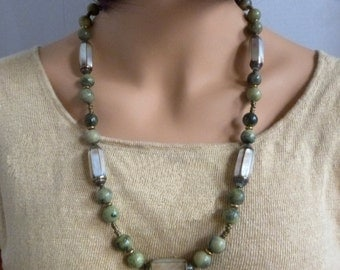 Chunky Green Jasper Necklace w Inlaid Mother of Pearl Beads & African Brass Trading Beads, Natural, Handmade