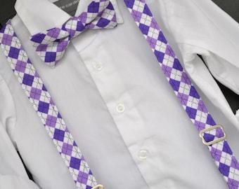 Bowtie and Suspender Set - Purple Argyle Bowtie & Braces Set for Baby / Toddler / Little Boy / Child - Perfect for Easter, Weddings, Photos