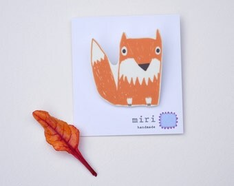 Fox Brooch Pin, Handmade Woodland Jewellery