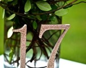 Champange Gold Glitter Wooden Wedding Table Numbers, Glittered Table Numbers