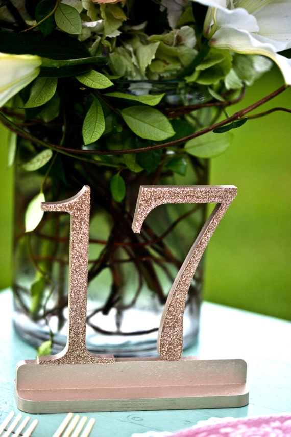 Gold Glitter Wooden Wedding Table Numbers, Glittered Table Numbers