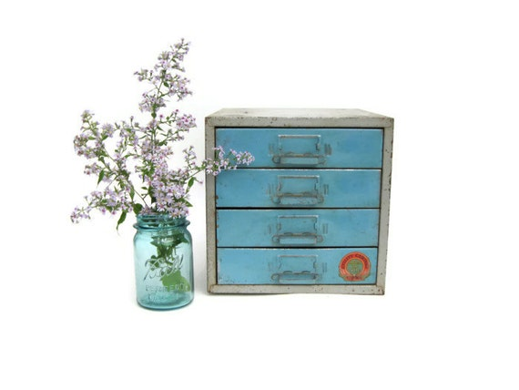 Vintage Metal Small Tool Cabinet, Industrial Storage, Blue Metal Storage Cabinet by Union Chests, 4 Drawer Tool Chest