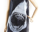 Shark tank top jaws shirt women tank top men tank top Graphic tee Funny Tee Workout Tee bleach black tank top screen print size M