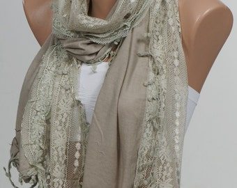 CAMEL Scarf with lace. Valentine Scarf. For 4 seasons. Big scarf or shawl. New season scarf.