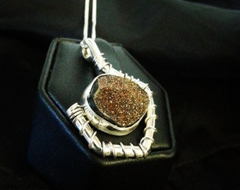 Pyrite Druzy Necklace Set in Sterling Silver