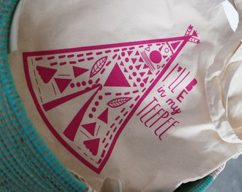 S A L E I'll Be In My Teepee Tote Bag Hot Pink