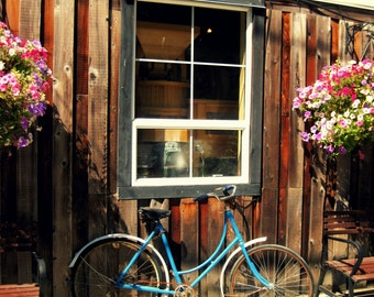 Bicycle Photography, Flower Box, Vintage Bicycle and Window Photograph Print. Travel Photography. Distressed Rustic Window Flower box.
