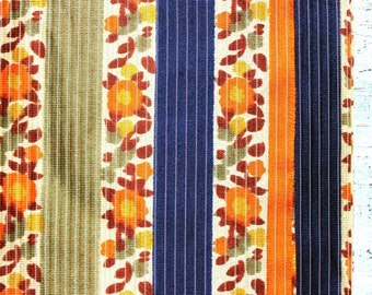 Vintage fabric 5.7 yards in 1 listing grey orange yellow brown floral stripes autumn fall