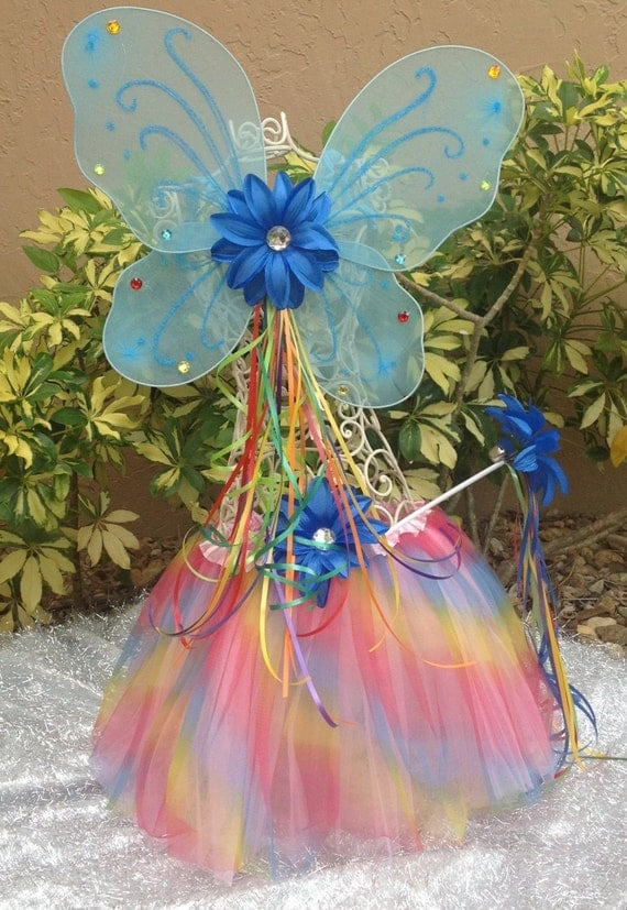 Rainbow Dash Wings Tutu Halo and Wand Costume, My Little Pony Party Favors, Rainbow Dash Costume, My Little Pony Birthday Favors Tutus
