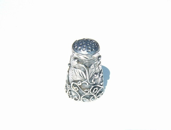 1950s Sterling Silver Sewing Finger Guard THIMBLE from Mexico