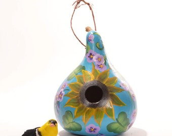 Hand painted Gourd Birdhouse, Sunflower and Summer Flowers, Decorative Gourd Art