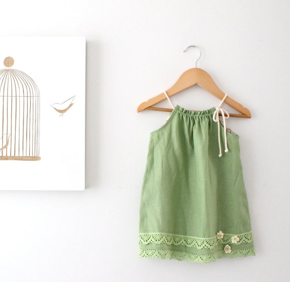 Apple green linen girls dress retro toddler baby for Apple green dress shirt