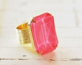Neon Hot Pink Rhinestone Cocktail Ring, Adjustable Gold Statement Ring