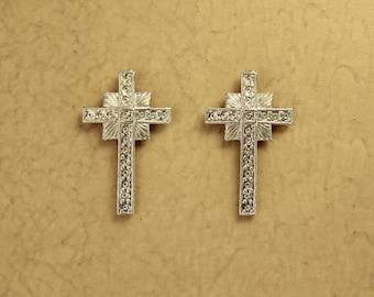 Magnetic Silver Cross Clip Non Pierced Earrings