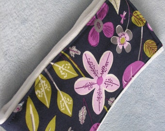 Burp Cloth-Floral-Navy, Purple & Green-Handmade-Super Absorbent