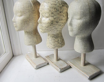 SALE Mannequin Head Hat Display With Base Stand- Your Choice - Dictionary  - Sheet Music - Vintage Text - Made to Order