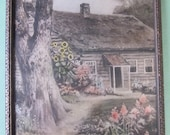1930's Hand Colored Print Of Old Fashion Country House And Gardens
