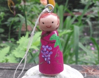 Wood peg Doll Necklace Friendship Charm Grapes