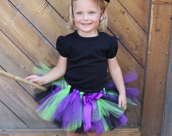 HOCUS POCUS WITCH Costume--Custom Made Hand-Tied Ribbon Tutu Skirt with Witch Hat, Sizes Newborn-5T