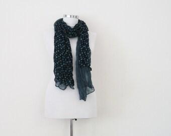 Blue layered autumn scarf, light polka dots scarf