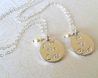 You're the Lucy..to my Ethel......Best Friend Necklaces-Thai Silver Handstamped Necklace Set-Gift for Best Friend/BFF Gift