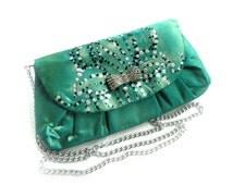 Emerald Clutch Bag. Hand Painted Handbag. Painted Silk Bag. Green Art Purse. Women Evening Bag. OOAK Bag.