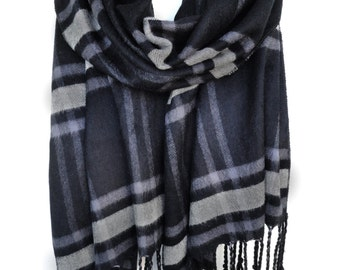 Man Scarf. Black Plaid Scarf. Cotton Scarf. Grey Scarf. Man Birthday Gift. Luxury Scarf. Extremely Soft Scarf. 12x67in (30x170cm) Ready2Ship