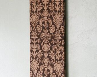"""Brown Damask Burlap Cork Board, Pin Board, Memo Board 12"""" x 24"""""""