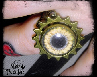 Steampunk Filigree Ring with Gear and Eye