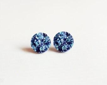 blue rocks - faux druzy round studs - minimalist, modern jewelry