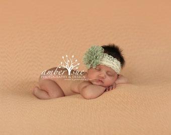 Vintage green newborn Headband, Toddler Headband, baby headband, Newborn photo prop, ivory lace, ivory headband