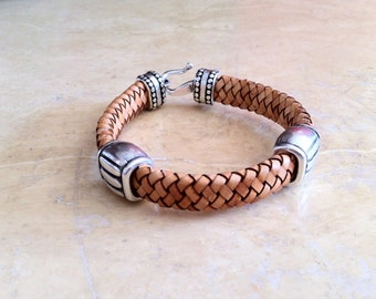 Leather bracelet,  braided leather bracelet, mens bracelet, Leather bracelet for men, simple bracelet, hook clasp