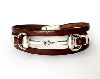 leather bracelet, snaffle bit bracelet, wrap bracelet, equestrian jewelry, Bit bracelet,  horse bracelet, horse jewelry, gifts under 40
