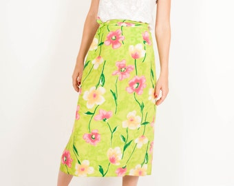 Vintage bright green wrap midi skirt flower pattern woman's size small - large