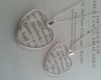 Sherlock Holmes and Watson Book Page Necklace