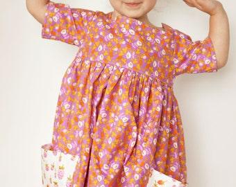 Sally Dress PDF Sewing Pattern Size 2T-8 Vintage Modern Large Pockets Square Neckline No Closures