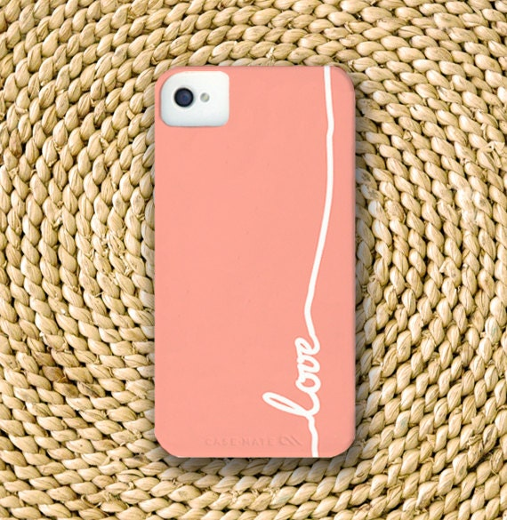 Cursive Love Barely-There Snap-On Hard Plastic iPhone 4 Case in Soft Rose Pink (In Stock & Ready to Ship)