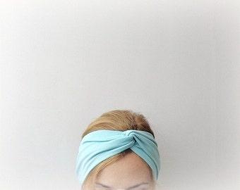 mint turban headband womens stretch headband turband head wrap with twisted center light blue boho style hair accessory