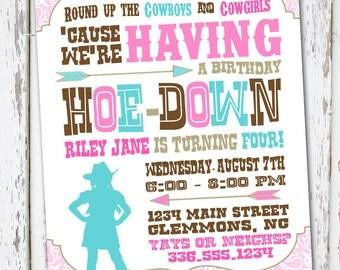 Western Cowgirl Birthday Invitation