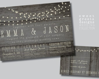 Customizable Rustic Lights Wedding invitation & Reply Card