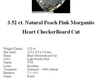 MORGANITE - Absolutely Beautiful Pale Peachy Pink 3.52 ct. CheckerBoard Heart Shape Morganite...