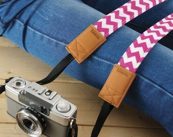 Slim Camera Strap - Pink Chevron for DSLR and Mirrorless Camera